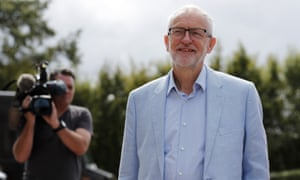 Jeremy Corbyn at a meeting with business leaders in Stevenage, August 2019