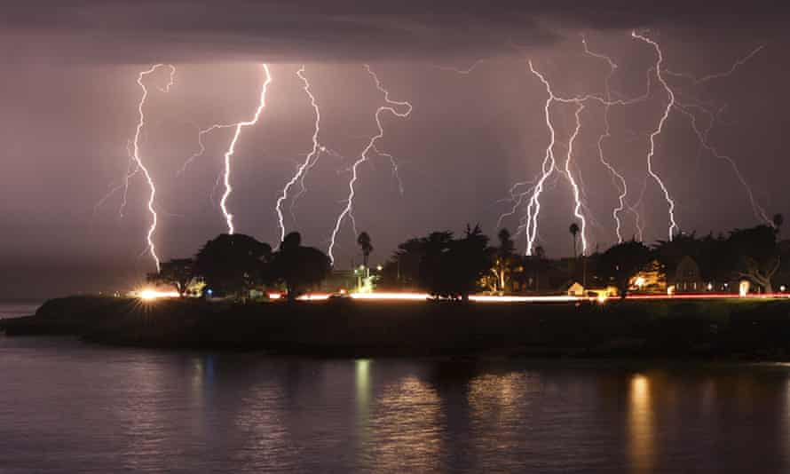 A rare lightning storm crackles in Santa Cruz, California, on Sunday morning.