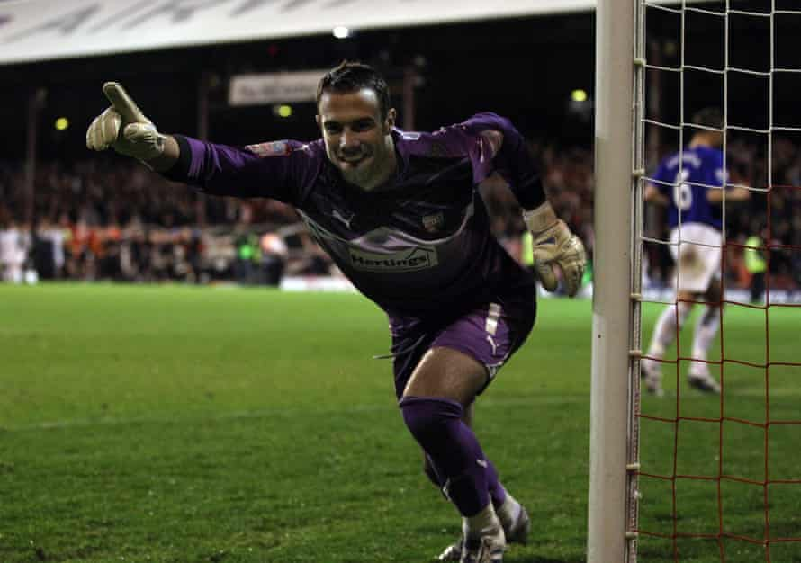 Richard Lee celebrates as Brentford knock Everton out of the League Cup in 2010.