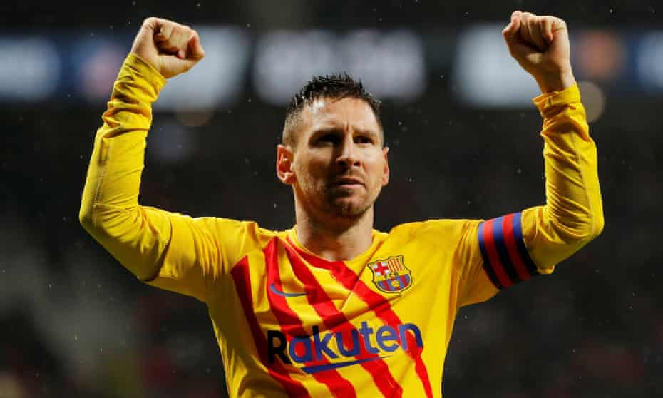 Lionel Messi celebrates his winning goal against Atlético Madrid.