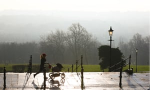 view of polluted London from Alexandra Palace, north London.