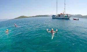 Enjoying the warm sea off Lefkada