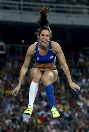 Ekaterini Stefanidi of Greece celebrates.