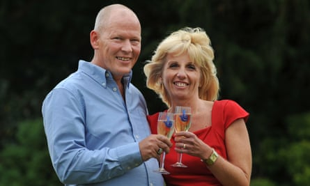 Dave and Angie Dawes celebrate after winning more than £101m in the EuroMillions