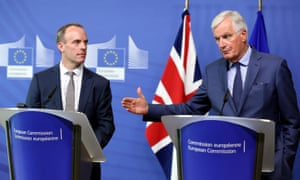Dominic Raab and Michel Barnier in Brussels on 31 August.