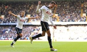 Dele Alli celebrates scoring Tottenham's second goal on Sunday, ending Manchester City's 100 per cent winning start in style at White Hart Lane.