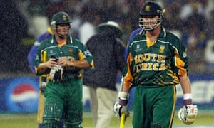 Washed out: Lance Klusener and Mark Boucher troop off in Durban, never to return during their home tournament.