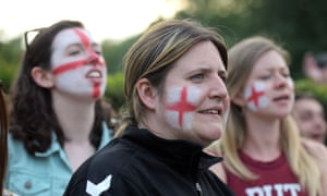 Fans gathered to watch the Women's World Cup semi-final in Battersea Park, London.