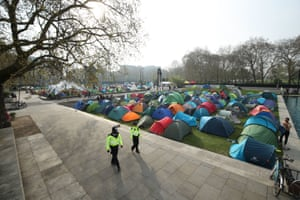 An Extinction Rebellion camp near Marble Arch, London