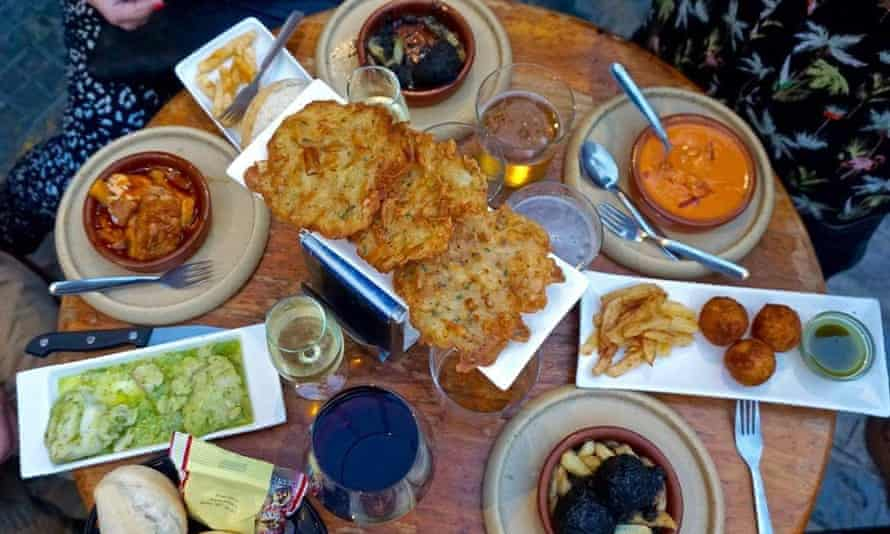 Aerial view of several tapa dishes at Mini-Bar La Tabernita, Cadiz, Spain.