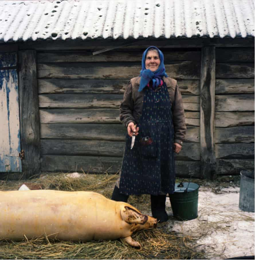 A babushka in front of her home in Chernobyl.