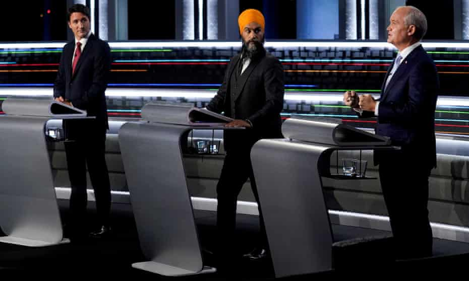 From left: the Liberal leader, Justin Trudeau; the NDP leader, Jagmeet Singh; and the Conservative leader, Erin O'Toole.