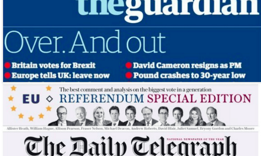 Front page responses to the Brexit vote by the Guardian and Telegraph.