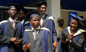 Students of the University of Ibadan, Nigeria, in their graduation gowns.