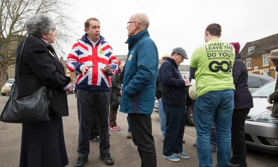 Philip Hollobone, wearing his union flag anorak, with fellow Grassroots Out campaigners in the town of Rothwell in Northamptonshire.