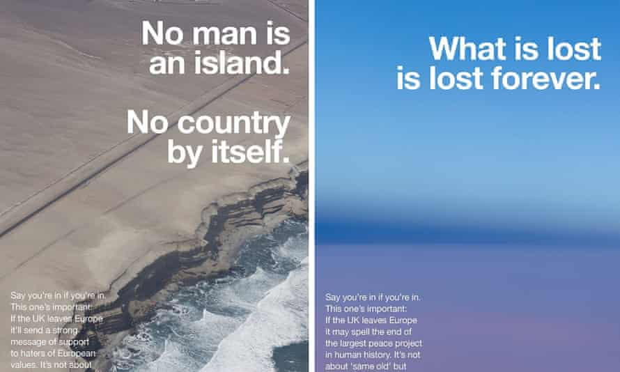 'Britain is a unique creator of fictions'… two of Tillmans' anti-Brexit posters.
