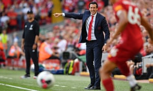 Unai Emery on the touchline during his side's 3-1 loss at Anfield.