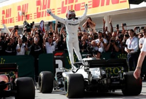 Lewis Hamilton celebrates winning a dramatic Hungarian Grand Prix earlier this month.