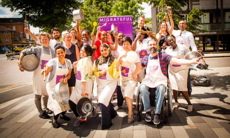 The Migrateful charity team, including staff and chefs, in London.
