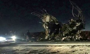An image released by the Fars news agency of the wreckage of the bus