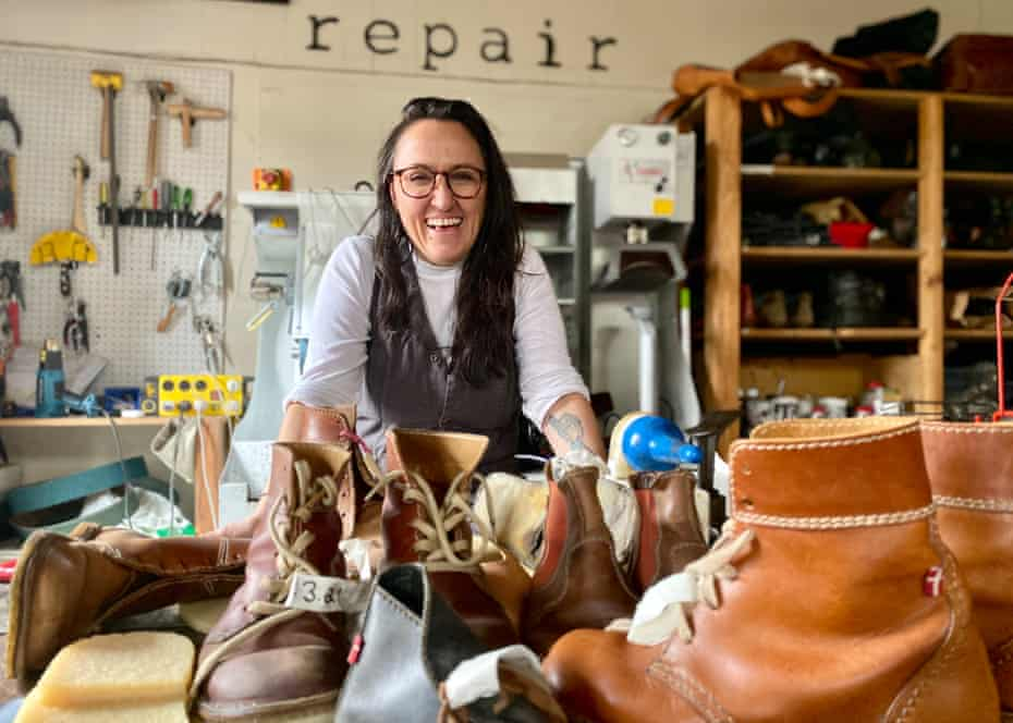 Anna Timou who owns On the mend shoe and bag repairs located in Fitzroy Victoria.