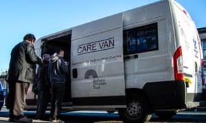 Food is served from a care van owned by the trust