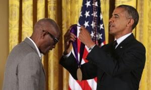 President Barack Obama presents the 2013 National Medal of Arts to Bill T Jones.