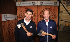 Europe captain Padraig Harrington and his US counterpart, Steve Stricker, after an axe-throwing contest.