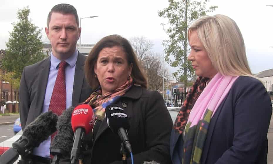 The Sinn Féin president, Mary Lou McDonald, centre, with John Finucane and Michelle O'Neill