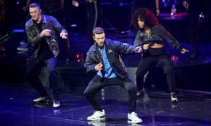 Justin Timberlake last night, forming a line in homage to Walker-Stones-Maguire.