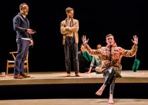 Binge-worthy … from left at front, John Benjamin Hickey, Kyle Soller and Hubert Burton in The Inheritance.
