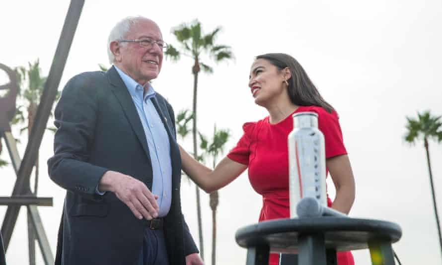 Alexandria Ocasio-Cortez introduces Bernie Sanders at a campaign rally at Venice Beach in Los Angeles, California, last week.