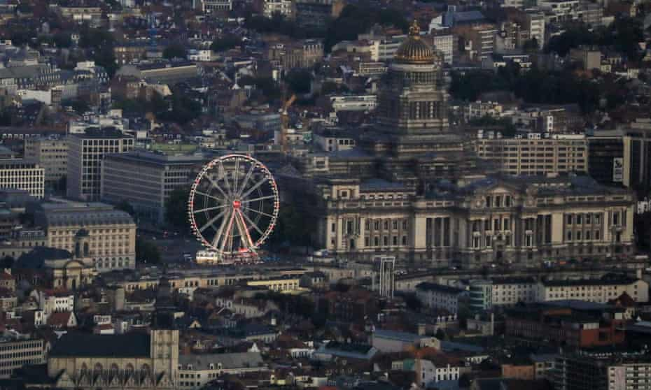 An aerial view of Brussels city centre