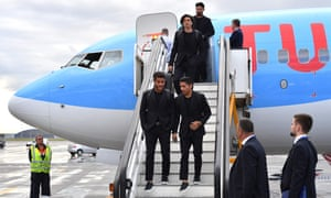 Mexico's team players arrive for the World Cup.