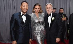 (L-R) John Legend, Chrissy Teigen and Recording Academy president Neil Portnow at the 60th Grammy awards, 28 January 2018.
