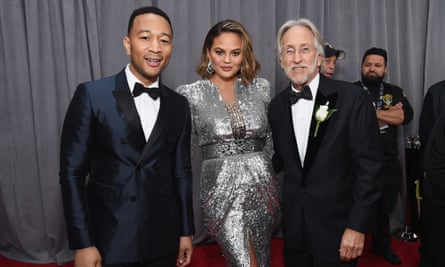 (L-R) John Legend, Chrissy Teigen and Recording Academy president Neil Portnow at the 60th Grammy awards, 28 January 2018.