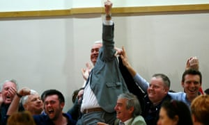 A Fianna Fáil candidate celebrates his election win in Dundalk.