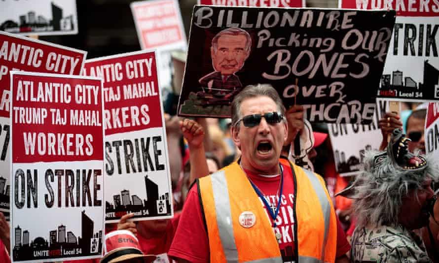 Trump Taj Mahal casino workers protest outside of Carl Icahn's Manhattan office.