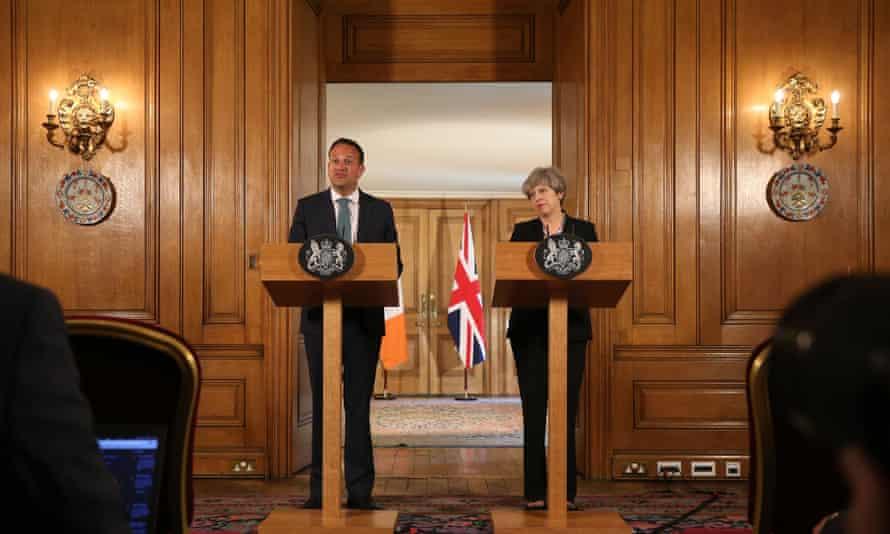 Theresa May with the Irish taoiseach, Leo Varadkar, at 10 Downing Street on Monday.
