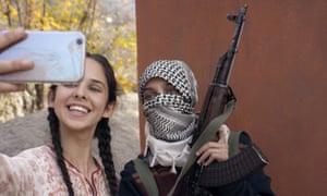 Zara La Peta Webb, left, as Noor and Shivam Raina as Majid in No Fathers in Kashmir.