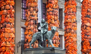 Ai Weiwei art installation in Berlin featuring life jackets used and discarded by refugees