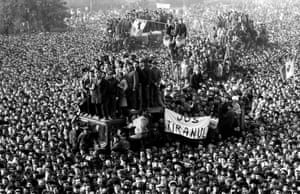 Demonstrators in Victory Square during Romania's 1989 anti-communist revolution.