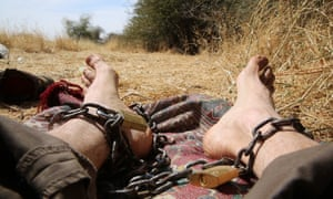 A photograph taken by Phil Cox while being held hostage in Sudan on Christmas Day 2016.