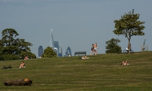 Brockwell Park, south east London, during a heatwave.