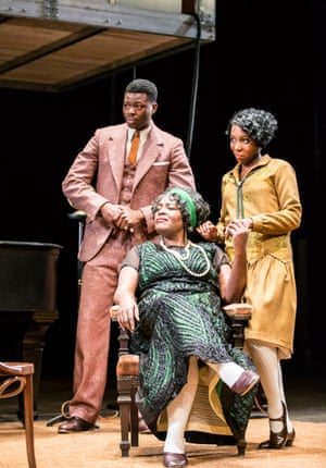 Lawrance, right, with Tunji Lucas and Sharon D Clarke in Ma Rainey's Black Bottom at the National Theatre in 2016.