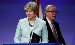 Theresa May and European Commission President Jean-Claude Juncker hold a news conference at the EC headquarters in Brussels on 8 December 8.