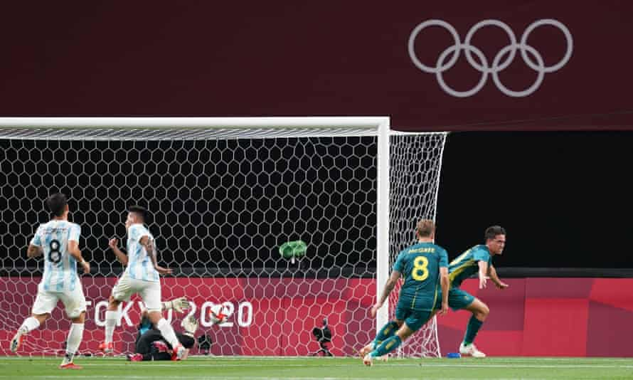 Australian Lachlan Wales celebrates scoring the first goal against Argentina at the Tokyo Olympics