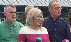 Sinn Fein leader Michelle O'Neill with party colleagues outside Stormont Castle in Belfast yesterday.