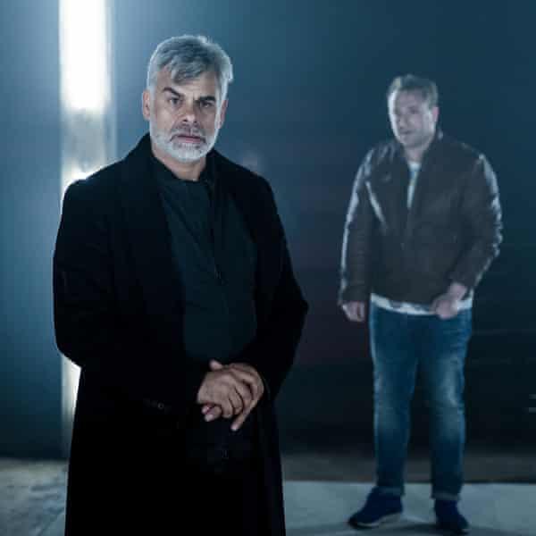 Horribly good … Mark Lockyer, left, as Iago.