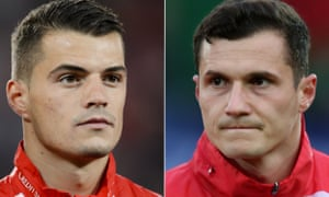 The Switzerland midfielder Granit Xhaka, left, and his brother Taulant of Albania